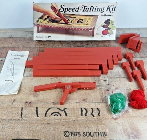 Vintage Speed Tufting Kit with Owl Pattern & Tufting Tool, Ronco 1975