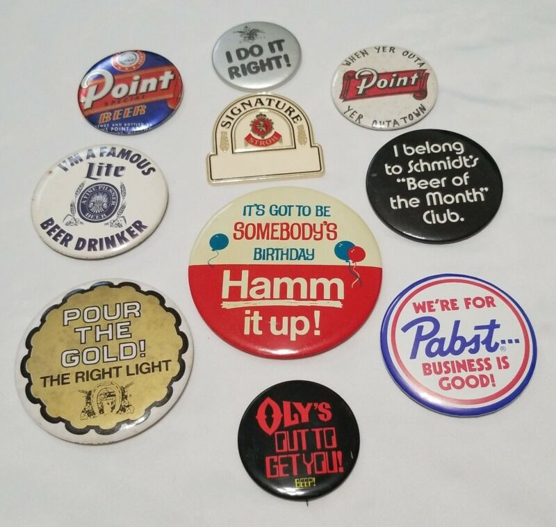 Vintage lot of 10 beer pin back buttons Hamm