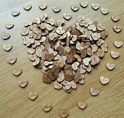 100pcs Rustic Wooden Love Heart Wedding Table Scatter Decoration Crafts 12MM - Love Table