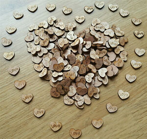 100pcs Rustic Wooden Love Heart Wedding Table Scatter Decoration Crafts BO