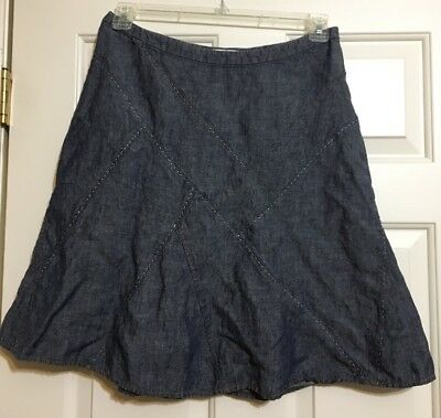 Women's CAbi size 8 blue denim linen A-line skirt for sale  Clinton