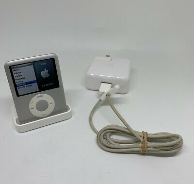 Apple iPod Nano 3rd Generation 4GB A1236 Silver Bundle - Free Ship - Factory Set