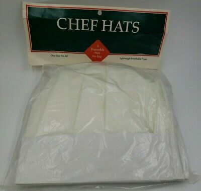 3 Pack Chef Hat White Breathable Paper One Size Usa