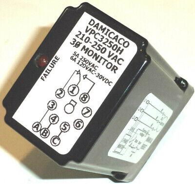 New 3 Phase Power Monitor Protection Relay 8 Pin 210-250 Vac Three Phase