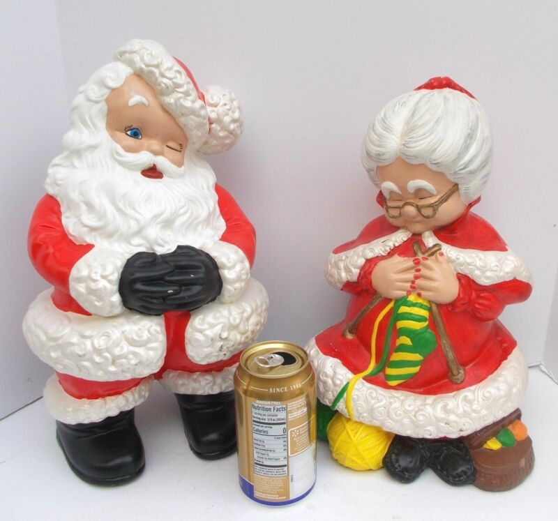 "Vintage Atlantic Mold 14"" Winking Santa Mrs Claus Knitting 2 Christmas Ceramics"