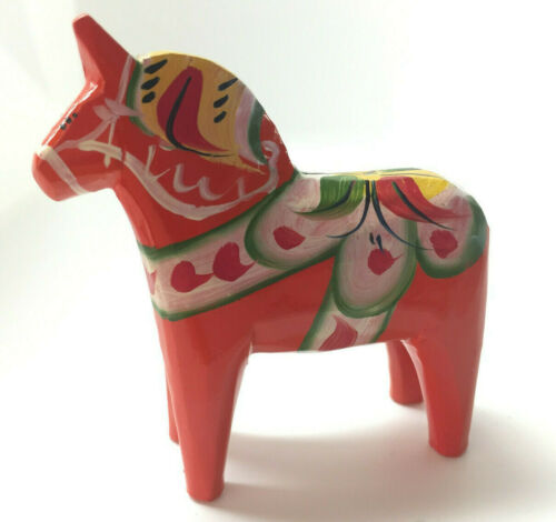 Nils Olsson Carved Wooden Orange Dala Horse Akta Dalahemslojd Swedish