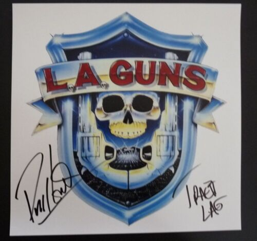 Phil & Tracii L.A. Guns Signed Autographed 12X12 Debut LP Photo 2 PSA Guaranteed