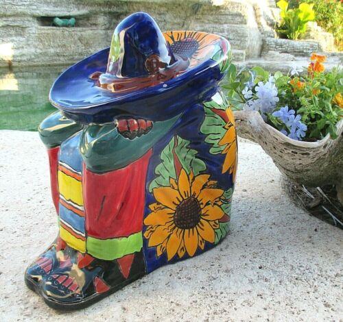 "Mexican Talavera Pottery Sleeping Sombrero Man Boy Campesino Figure Lg 15"""