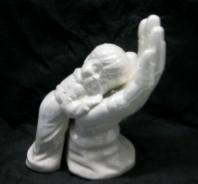 Resting in the Palm of His Hand Child Figurine Statue White Iridescent Glaze - In The Palm Of His Hand