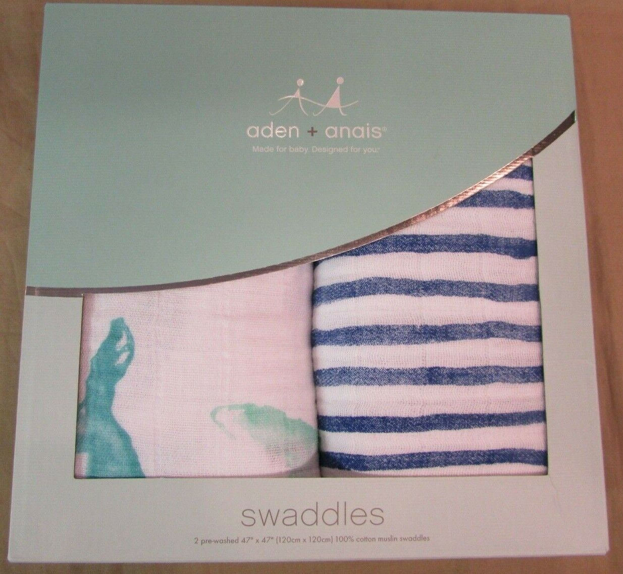 New Aden + Anais Classic Seafaring 2-Pack Swaddle Baby Blank