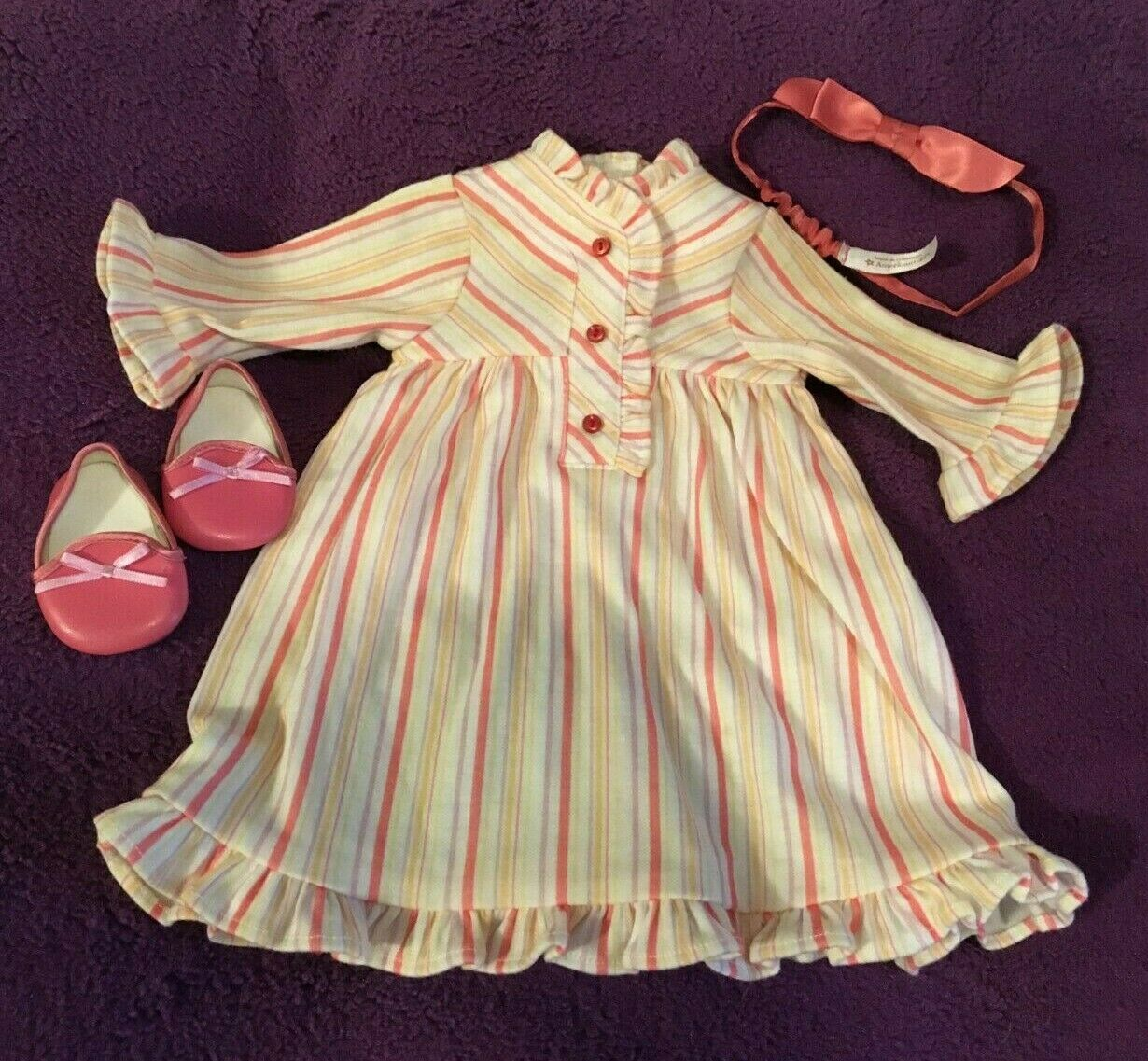 American Girl Doll Kit s Striped Nightie Nightgown Historical Slippers Hair Bow - $20.00