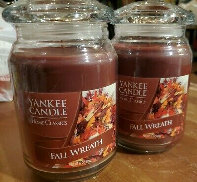 *LOT OF TWO* Yankee Candle Home Classics Fall Wreath - Large 22 oz Wick Jar NEW
