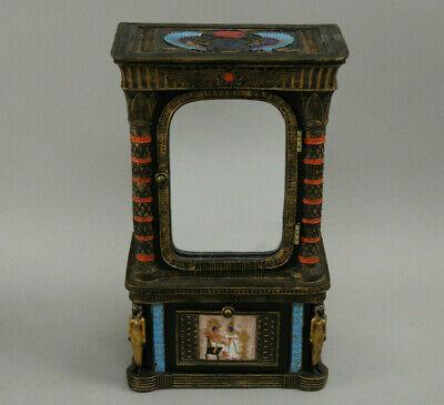"Very Rare Summit Egyptian Armoire Keepsake Jewelry Box 9"" w/Mirror & Ankh"
