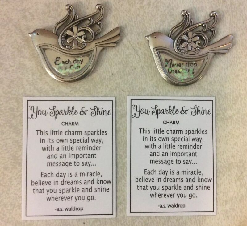 (2) Sparkle Shine Bird Charms Pocket Tokens Coin with Verse Different Sentiment