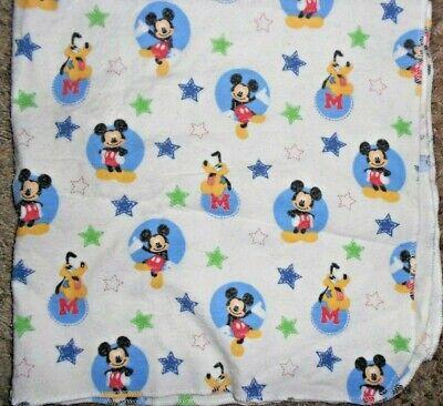 Disney Fleece Baby Receiving Blanket Mickey Mouse Pluto Blue Green Stars (Green Fleece Baby Receiving Blanket)