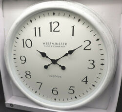 WESTMINSTER Wall Clock 20 LARGE White Wsh Farmhouse Country Farm NEW vintage