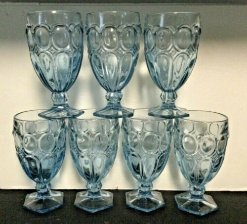 LOT 7 Fostoria Glass MOONSTONE LIGHT BLUE Large Iced Tea Glasses