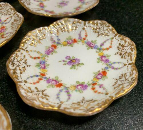 """10 Franziska Hirsch Dresden 2 7/8"""" Floral & Gold Decorated Butter Pat Plates"""