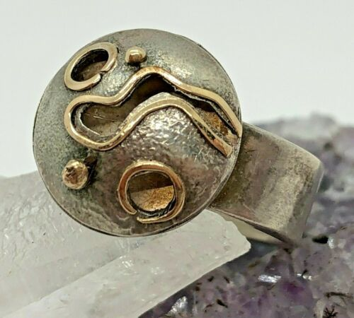 Vintage Artisan 14K Sterling Silver Modernist Planet Ring Size 6