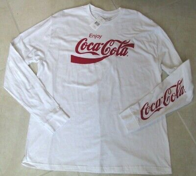 New Coca Cola Long Sleeve Classic T-shirt Mens size XL White White Coke