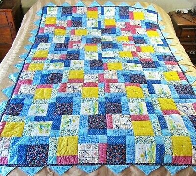 Toddler,Twin Handcrafted Finished Patchwork Quilt Top,Blues,Boy & Girl Prints