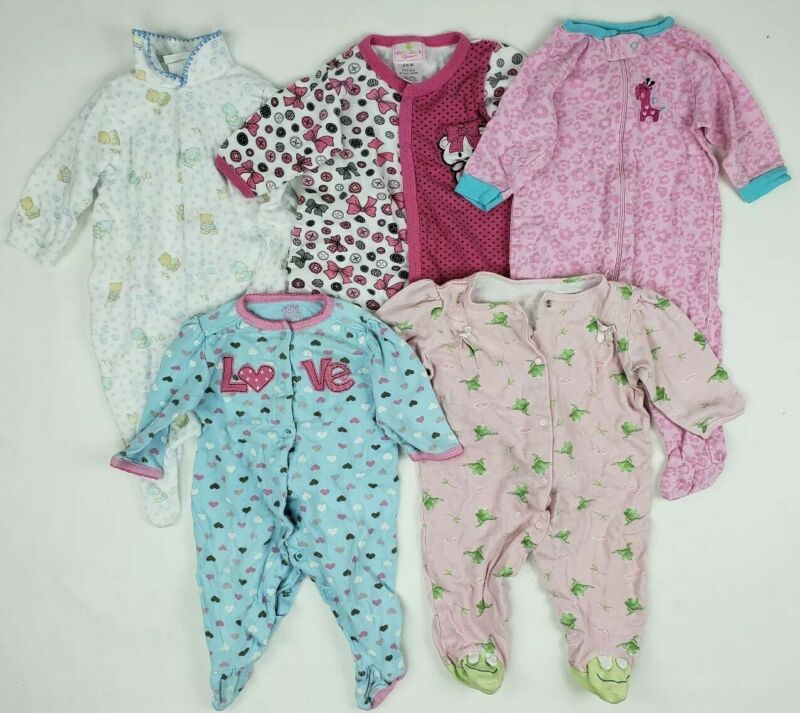 Girls 3-6 Months Sleepers Lot Carters Gerber Ect Preloved Baby Clothes Mixed Nb