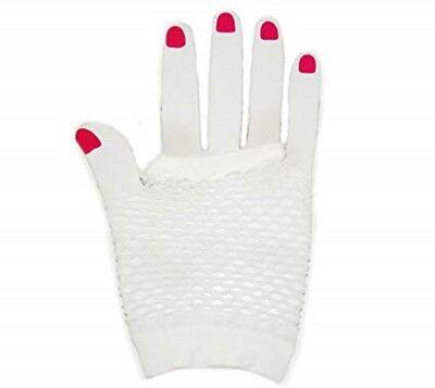 Neon Farben Shorts Fischnetz Kostüm Fingerlose Handschuhe Weiß - Neonfarbene Kostüme