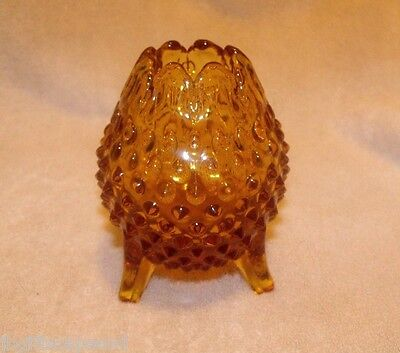 VINTAGE FENTON HOBNAIL TRI FOOTED TULIP BOWL - AMBER - PRE LOGO - MINT!  LQQK!! Amber Tulip Bowl