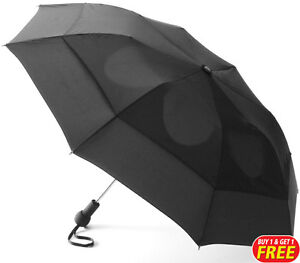 Black Vented Windproof Umbrella 1+1 Free Brolly (For Rain, Downpours)