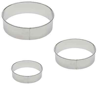 Stainless Steel Round Cookie Cutter Mold 3 Size Pk USA seller