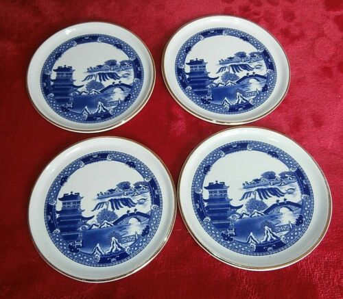 SET 4 WADE CERAMIC WILLOW PATTERN COASTERS ~ SPECIALLY FOR RINGTONS LTD.,