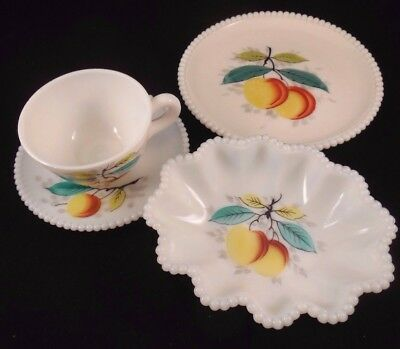 Vintage Westmoreland Peach Fruit Design Milk Glass Luncheon, Fruit & Coffee Set