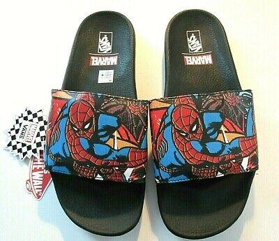 Vans x Marvel Mens Spiderman Slides Flip Flops Black Red Blue NWT Free Ship