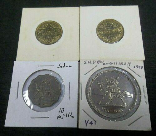 (2) 1961 LEBANON 25 PIASTRES GEM BU & 1968 SUDAN 25 GHIRSH & 10 MILLIM  (7394)