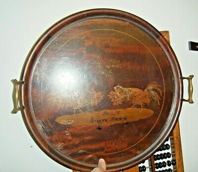 Antique 19th C. Inlay Marquetry Rooster Fight Round Handled Drinks Tray Mahogany
