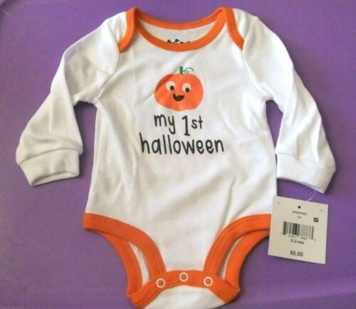 NWT Infant Boy/Girl 0-3M MY 1st HALLOWEEN Bodysuit Long Sleeve White Pumpkin