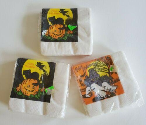 NOS Vtg 80s 90s HALLOWEEN PAPER NAPKINS QTY 3 PACKS Retro 30 PIECES Cat Witch