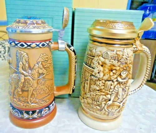 Avon 1987 The Gold Rush & 1988 Indians Of The American Frontier Beer Steins NIB