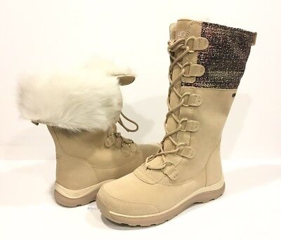 UGG ATLASON FRILL WATERPROOF BOOTS CREAM SUEDE / TOSCANA FUR CUFF -US 9 -NEW