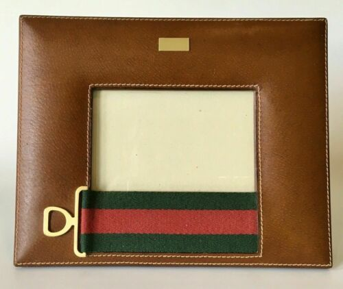 VINTAGE GUCCI LEATHER FRAME with  SIGNATURE STRIPE & HORSEBIT EQUESTRIAN