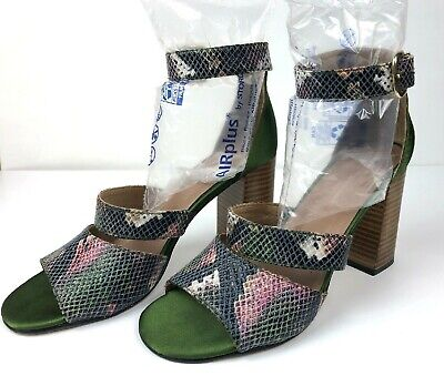 Anthropologie 38 Green & Tan/Brown Snake Print Stacked Heel Sandals Ankle Strap