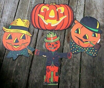 Halloween Vintage Beistle Lot of 4 Die Cut Paper Decorations from 1940's or 50's