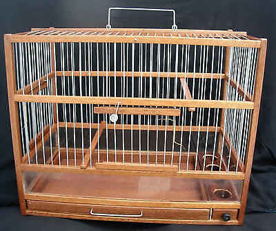Hand Crafted Wooden Bird Cage; Slide Out Tray, Plexiglas