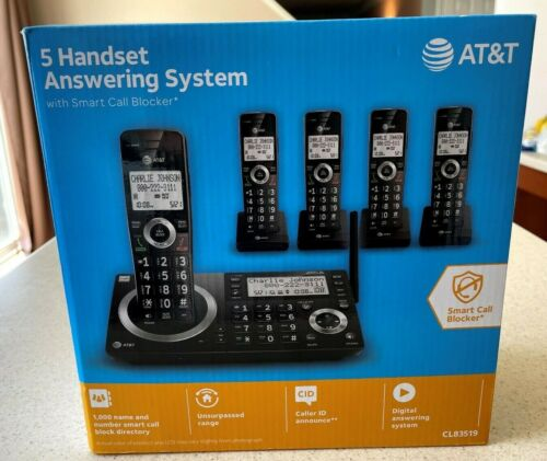 New At&t CL83519 5 Handset cordless telephone w/ smart call block Free Shipping