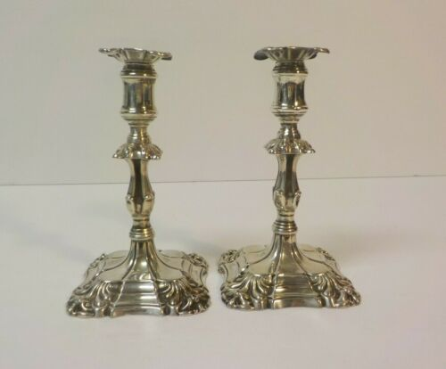 19th C. Pair Martin & Hall English Sterling Silver Miniature Candlesticks