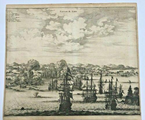 PERU LIMA 1673 Arnold MONTANUS RARE LARGE ANTIQUE ENGRAVED VIEW 17TH CENTURY