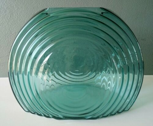 PILGRIM - METROPOLIS COLLECTION - RARE LARGE TEAL GLASS ART DECO VASE