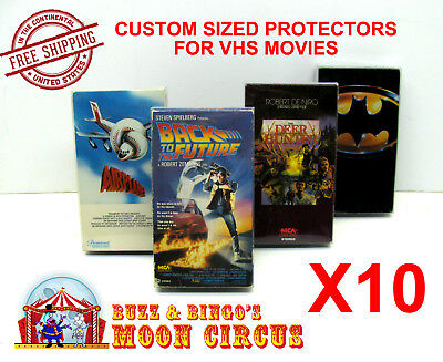 10x STANDARD VHS MOVIE (SIZE A) CLEAR PLASTIC PROTECTIVE BOX PROTECTORS SLEEVE