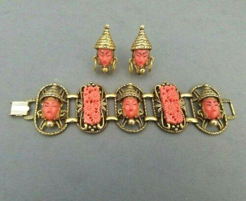 Selro Selini Bracelet & Earrings Thai Girl Faux Coral Set Vintage