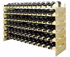 72 Bottles Stackable Wine Display Storage Rack Pine Wood Alternative to Cellar